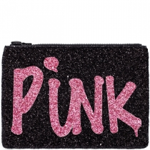 Black Pink Punk Glitter Clutch Bag