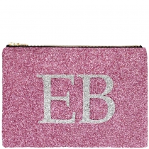 Pink & Silver Monogram Glitter Clutch Bag