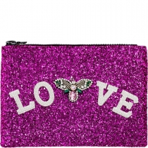 Love Embellished Glitter Clutch Bag Cerise