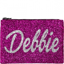 Personalised Pink Glitter Clutch Bag