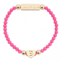 Gold Plated Letter Bracelet Pink - Choose Letter