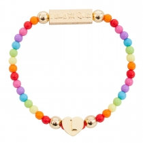 Gold Plated Letter Bracelet Rainbow - Choose Letter