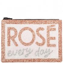 Rosé Every Day Glitter Clutch Bag