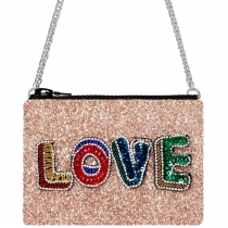 Love Rose Gold Glitter Cross-Body Bag