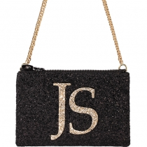 Black & Pale Gold Monogram Glitter Cross-body Bag