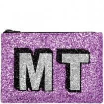 Sherbet Block Initials Glitter Clutch Bag