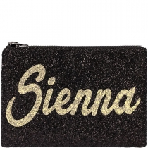Personalised Black & Gold Glitter Clutch Bag