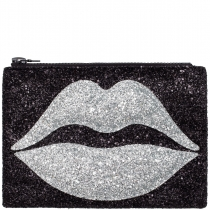 Pouting Lips Glitter Clutch Bag Silver