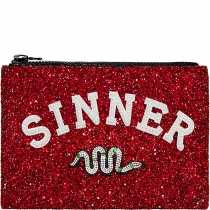 Sinner Glitter Clutch Bag Red
