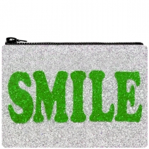Smile Glitter Clutch Bag Green