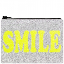 Smile Glitter Clutch Bag Yellow