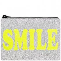 Smile Glitter Clutch Bag Yellow