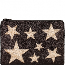 Black Stars Glitter Clutch Bag