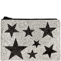 Silver Stars Glitter Clutch Bag