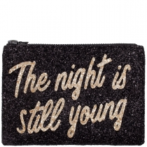 The Night Is Still Young Glitter Clutch Bag