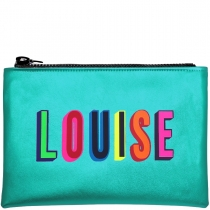 Personalised Metallic Turquoise Clutch Bag