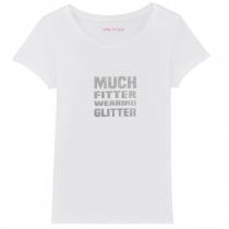 Much Fitter Wearing Glitter T-Shirt White