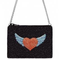 Winged Heart Glitter Cross-Body Bag
