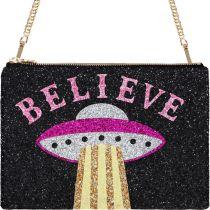 Believe Glitter Clutch Shoulder Bag