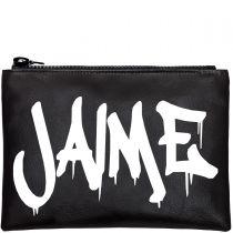 Personalised Black & White Graffiti Clutch Bag