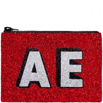 Red Block Initials Glitter Clutch Bag