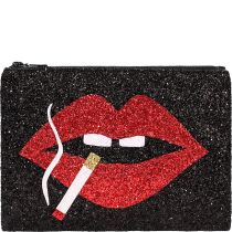 Smoking Lips Glitter Clutch Bag
