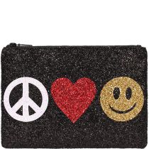 Peace Love Happiness Black Glitter Clutch Bag