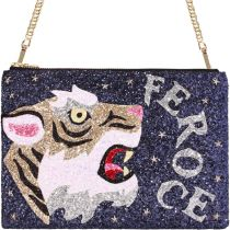 Feroce Studded Glitter Clutch Shoulder Bag