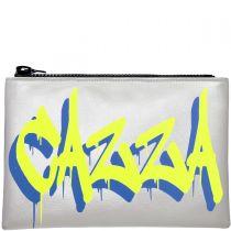 Personalised Metallic Silver & Neon Graffiti Clutch Bag