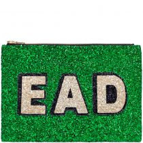 Emerald Block Initials Glitter Clutch Bag