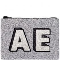 Gunmetal Block Initials Glitter Clutch Bag