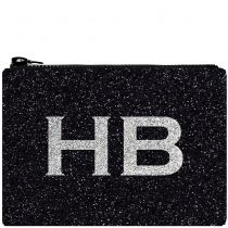 HB London x I Know The Queen Monogram Glitter Clutch Bag Black & Silver