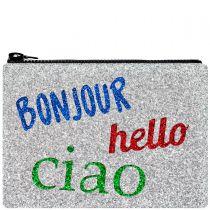 Bonjour Hello Ciao Glitter Clutch Bag