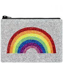 Silver Rainbow Glitter Clutch Bag