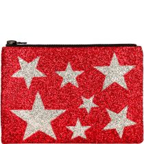 Red Stars Glitter Clutch Bag