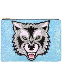 Wolf Glitter Clutch Bag