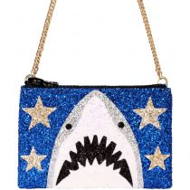Blue Shark Glitter Cross-Body Bag