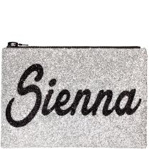 Personalised Silver Glitter Clutch bag