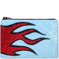 Blue Flame Glitter Clutch Bag