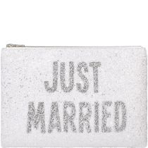 Just Married Glitter Clutch Bag