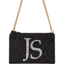 Black & Silver Monogram Glitter Cross-body Bag