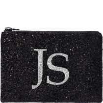 Black & Silver Monogram Glitter Clutch Bag