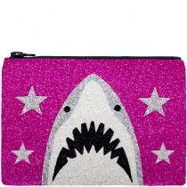 Pink Shark Glitter Clutch Bag