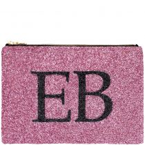 Pink & Black Monogram Glitter Clutch Bag