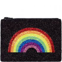 Rainbow Black Glitter Clutch Bag