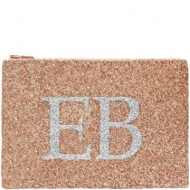 Rose Gold & Silver Monogram Glitter Clutch Bag