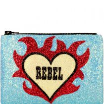 Rebel Heart Glitter Clutch Bag