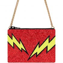 Red Bolt Glitter Cross-Body Bag