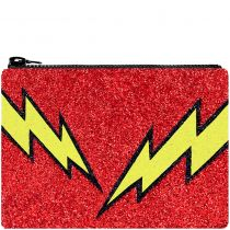 Red Bolt Glitter Clutch Bag