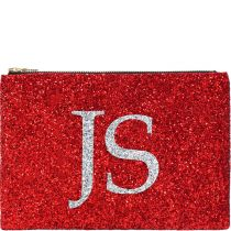 Red Monogram Glitter Clutch Bag